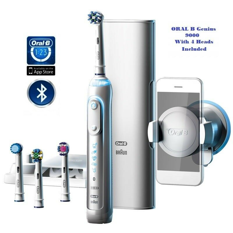 braun oral b genius 9000 bluetooth with 4 brush heads included uk seller 4210201160236 ebay. Black Bedroom Furniture Sets. Home Design Ideas