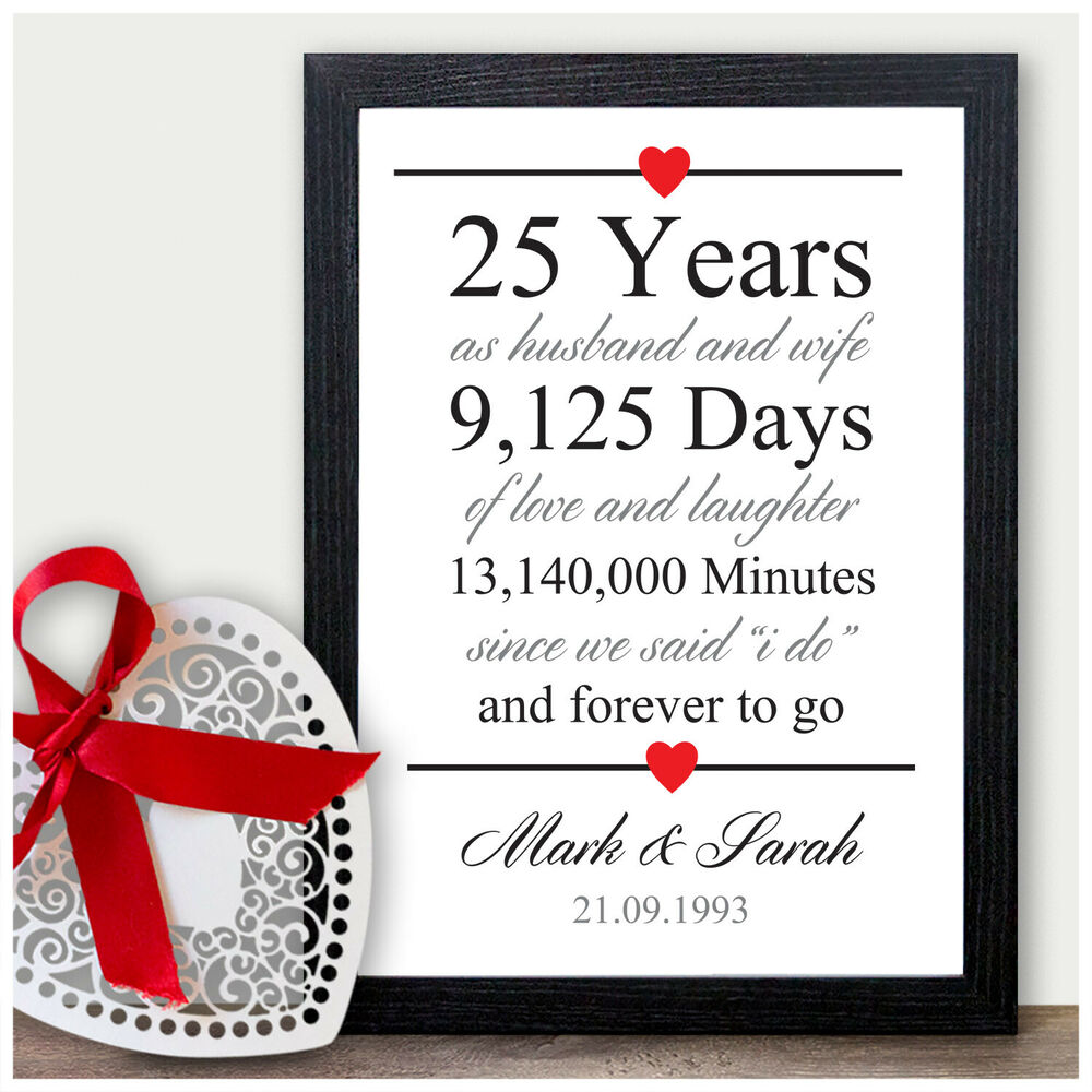 aa205f8f67b Details about 25th Wedding Anniversary Gift Silver Twenty Five Years  Personalised Print Gift