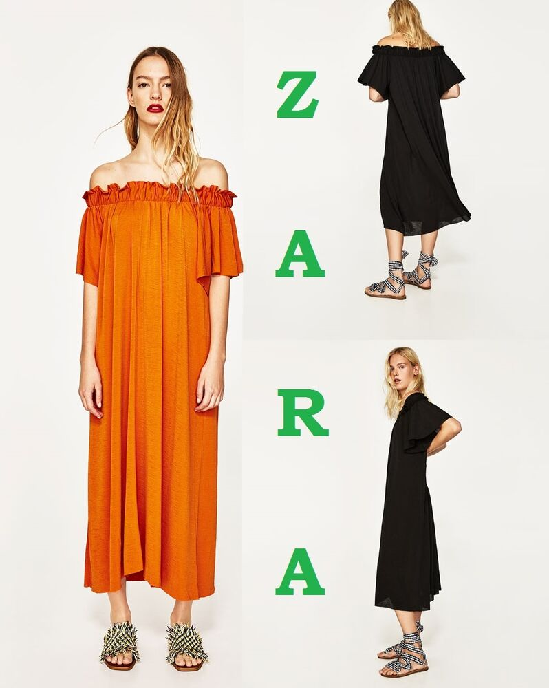 Details about Zara Long Dress With Exposed Shoulders Orange Black Short  Sleeve New Dress S-M-L c1ee016a3