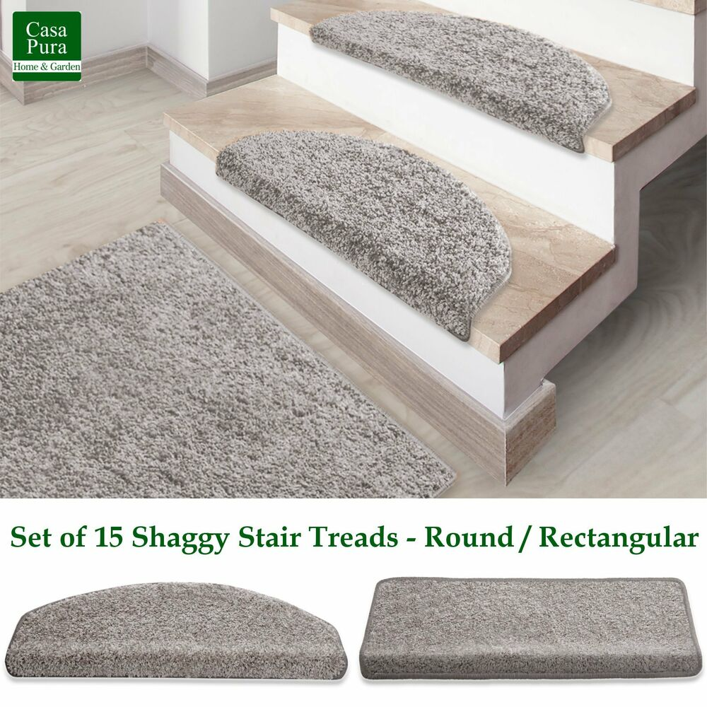 Shaggy Stair Mats Silver Stair Treads Non Slip Soft Thick