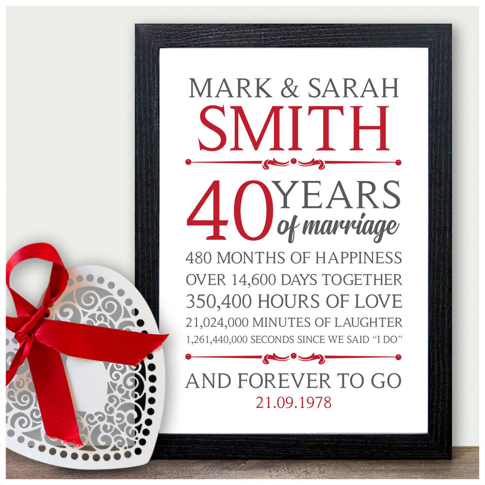 What Is The 40th Wedding Anniversary Gift: 40th Wedding Personalised Anniversary Gifts 40 Wedding