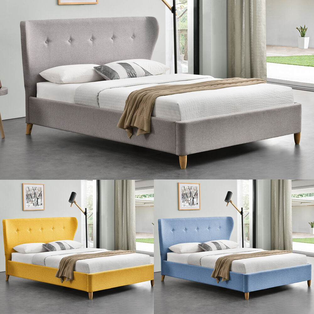 fabric upholstered modern winged headboard bed grey yellow blue double king size ebay. Black Bedroom Furniture Sets. Home Design Ideas