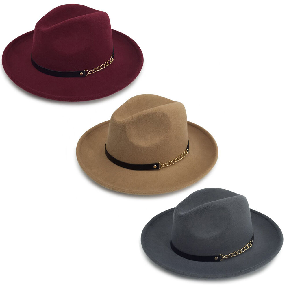 Details about Men s   Women s Wide Brim Josette Fedora Felt Hat With A Band  (3 Color Option) 2fcecd632b3