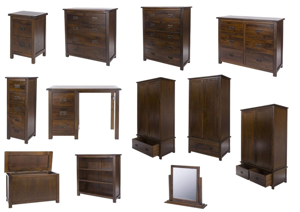 Boston Elegant Dark Pine Bedroom Furniture