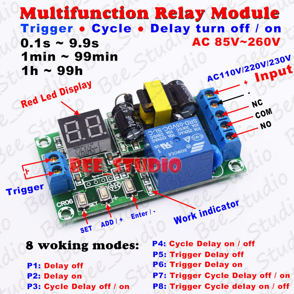 Digital Led Ac 220v 230v Cycle Loop Delay Turn On Off Switch Timer Relay Module Ebay