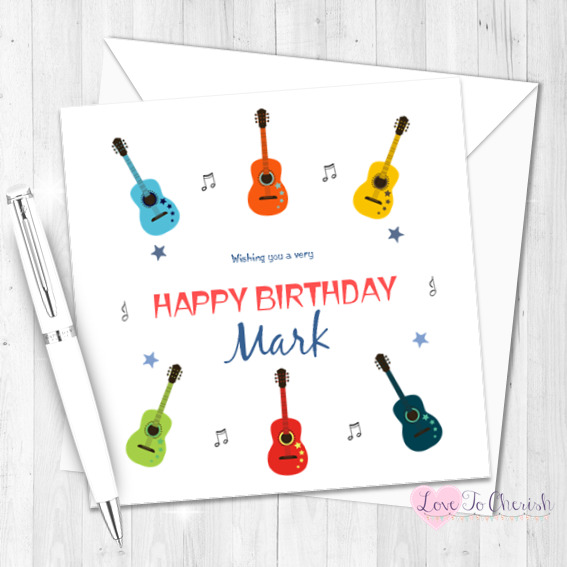 Details About HANDMADE Personalised BIRTHDAY CARD Guitars Music Dad Son Brother Daddy Uncle