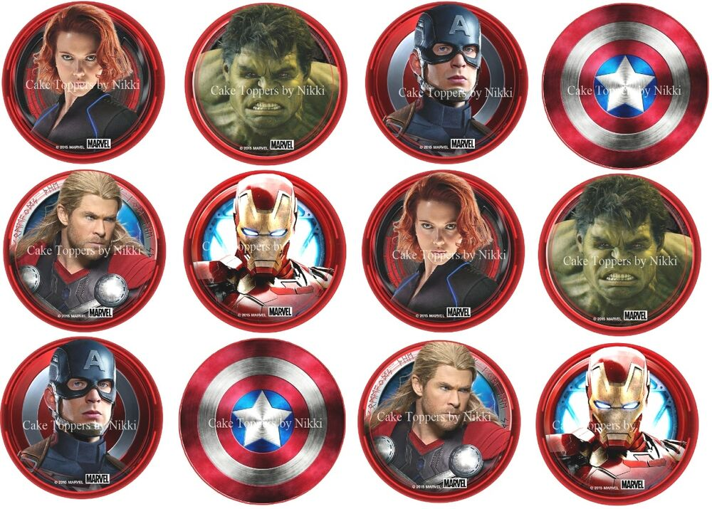 "1.5"" Precut Icing Cupcake Toppers Avengers Cupcake Toppers ..."