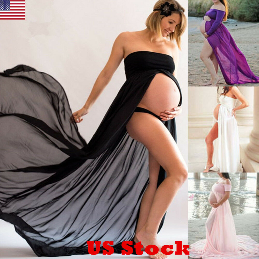 Cocktail maternity dresses ebay us pregnant women chiffon maxi dress maternity gown photography props dress new ombrellifo Images