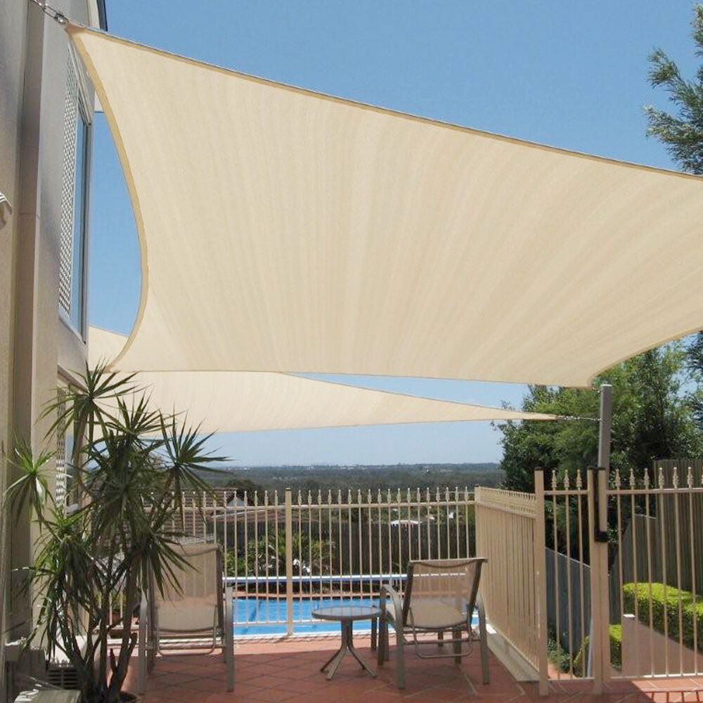 12x12x12 beige triangle sun shade sail fabric canopy patio cover garden pergola ebay. Black Bedroom Furniture Sets. Home Design Ideas
