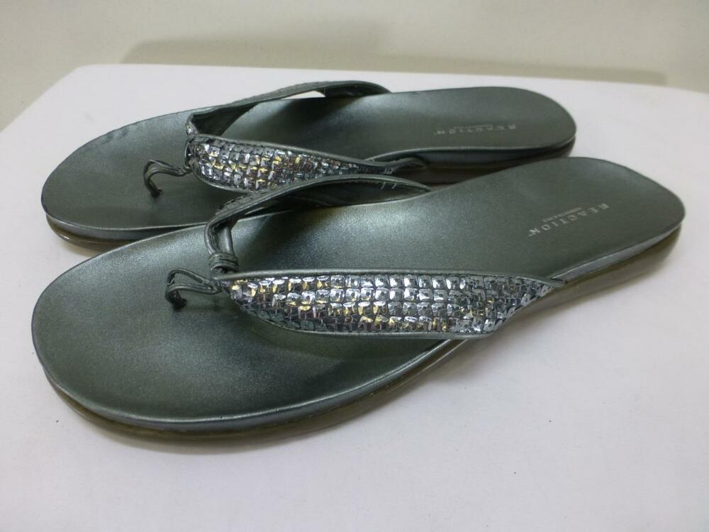eeba1e780 Details about Kenneth Cole Reaction Glam silver bling flip flops sandals  flats womens sz 11 M