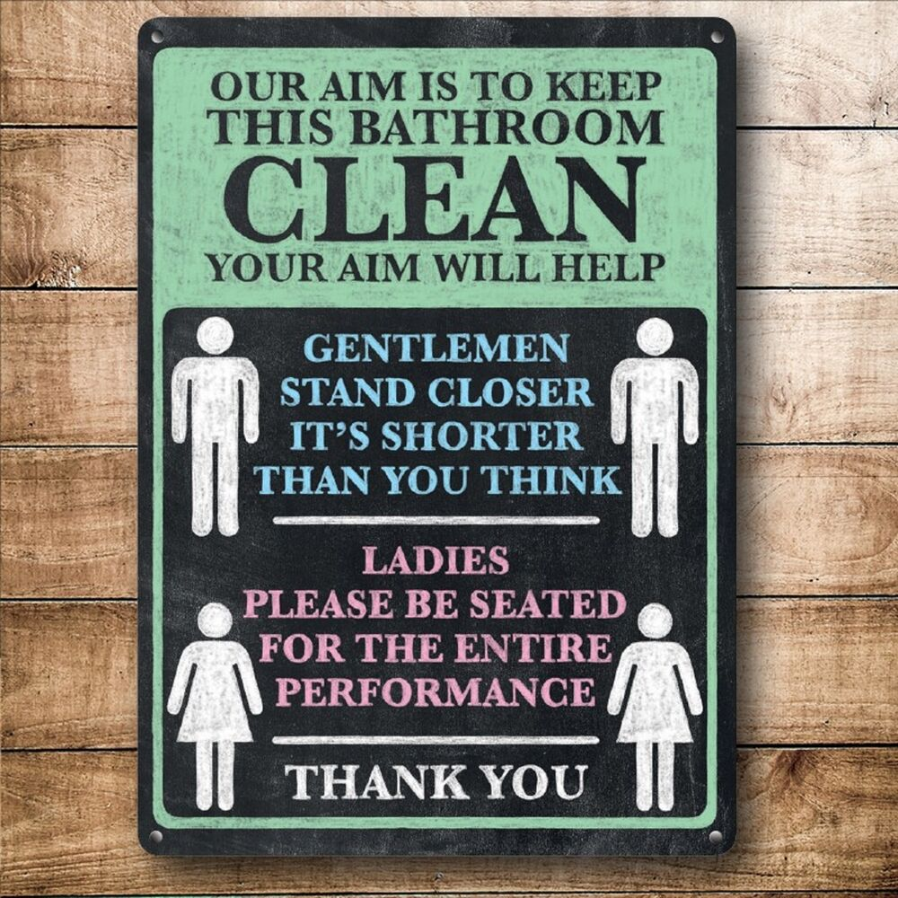 FUNNY BATHROOM SIGN PICTURE RETRO LOO TOILET WALL DOOR