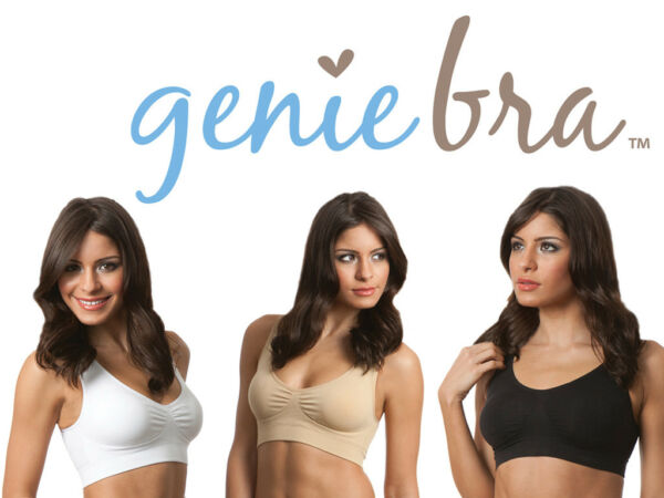 Genie Classic Bra With Removable Pads White,Beige or Black All Sizes (3 BRAS )