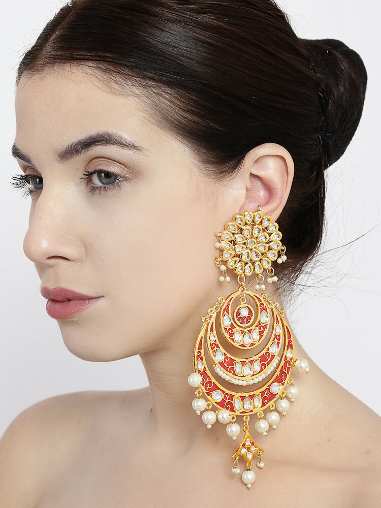 Unique Goldtone Indian Women Drop Dangle Earring Set Wedding Jewelry BSE160-PAR | EBay