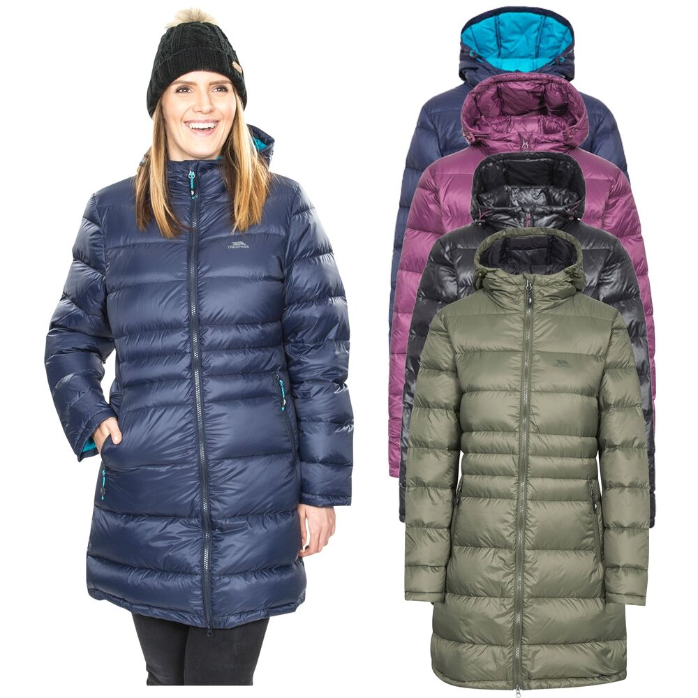 Trespass Marge Hooded Warm Womens Down Jacket Winter Long ...