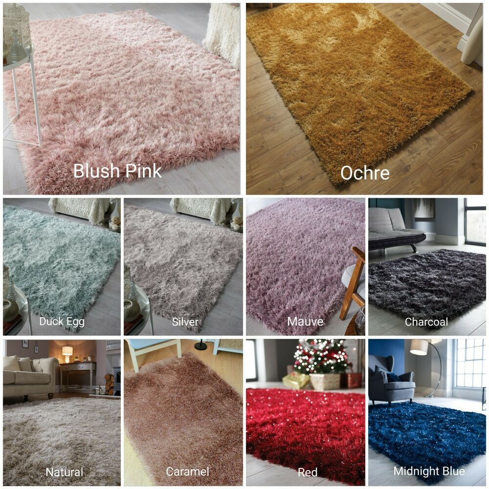 Dazzle Blush Pink Rug: Long Pile Quality Thick Dazzle Sparkle Silky Shiny Shimmer