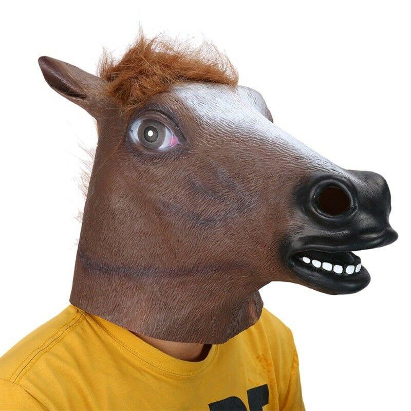 halloween mask full head latex realistic horse mask creepy fancy party costume
