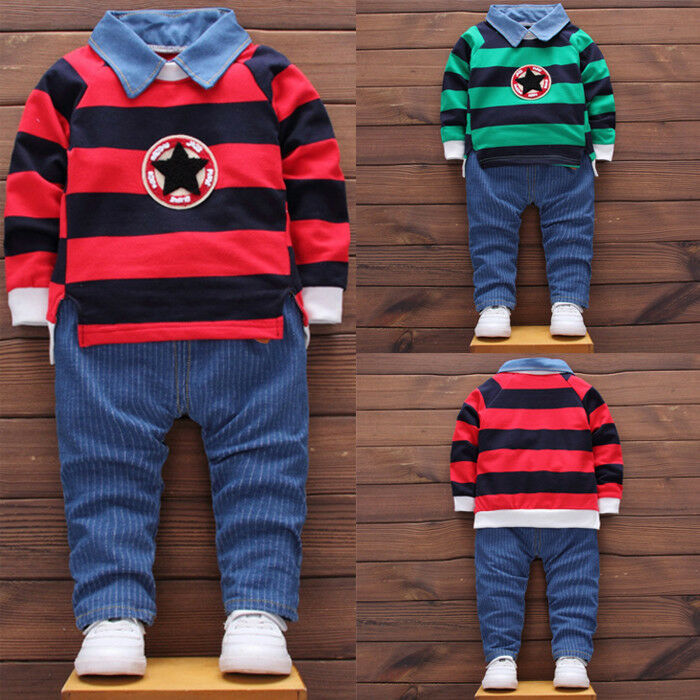 2b5af4884 Details about 2PCS Toddler Kids Baby Boy Outfits Pullovers T-shirt Tops+Long  Pants Clothes Set