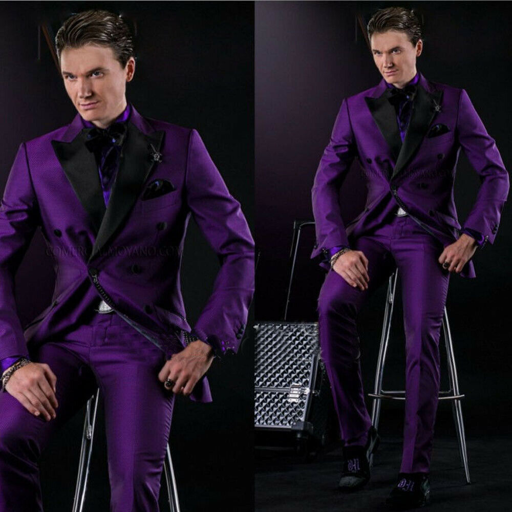 2018 Stock Slim Fit Groom Tuxedos Best Man Suits Purple Men\'s ...
