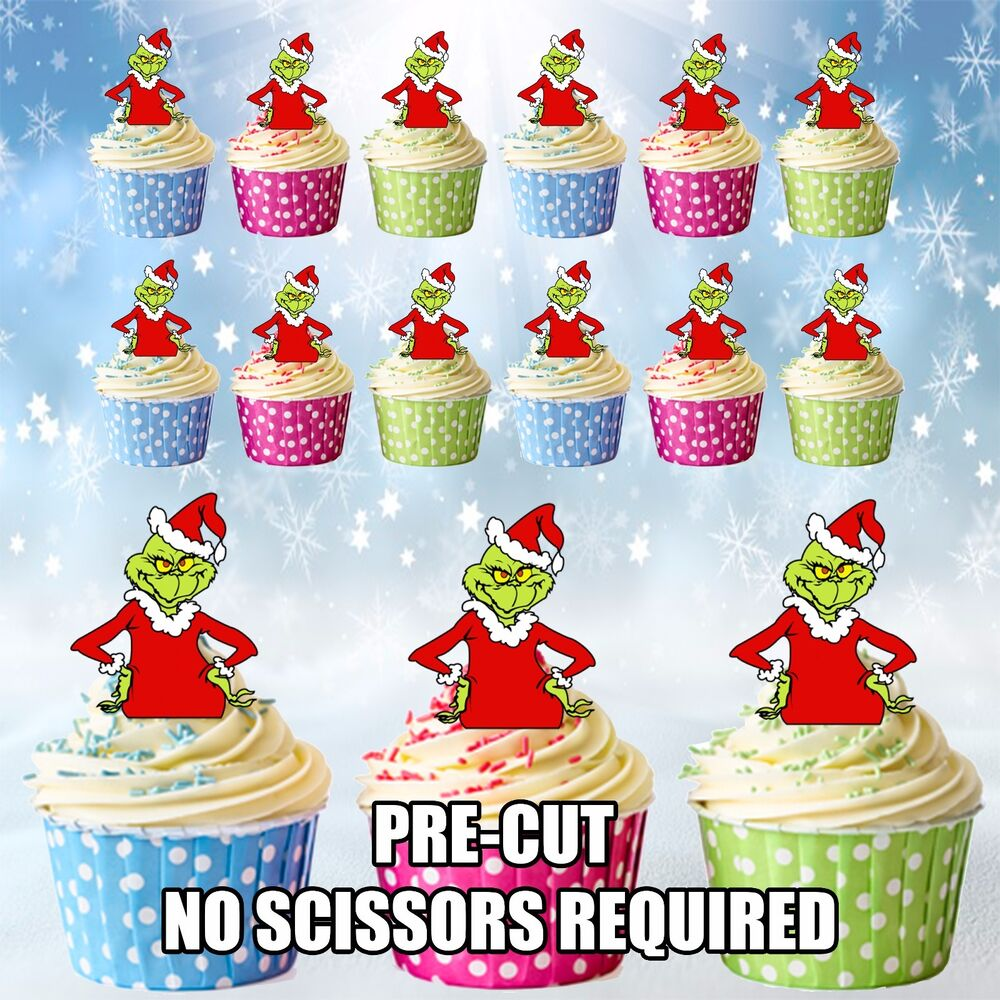 PRE-CUT The Grinch - Edible Cup Cake Toppers Decorations ...