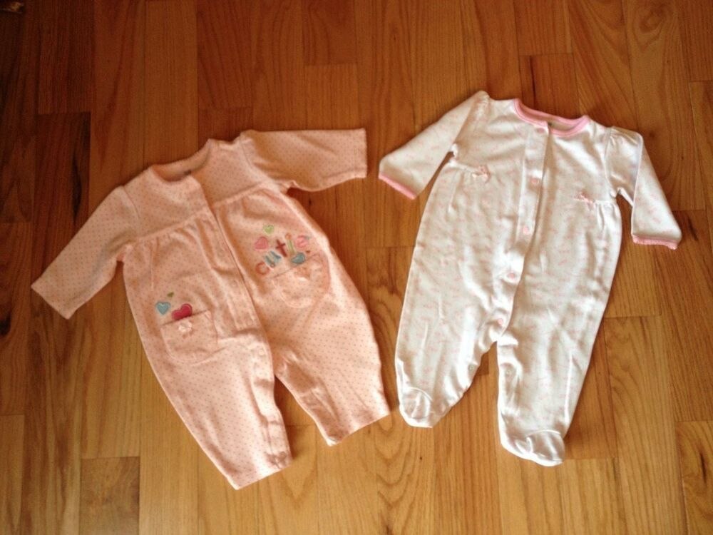 666dcf84b9b4 Details about Little Me + Carter s Baby Girls Pink Cotton Knit Sleeper PJ s  Romper Sz 6 Mos