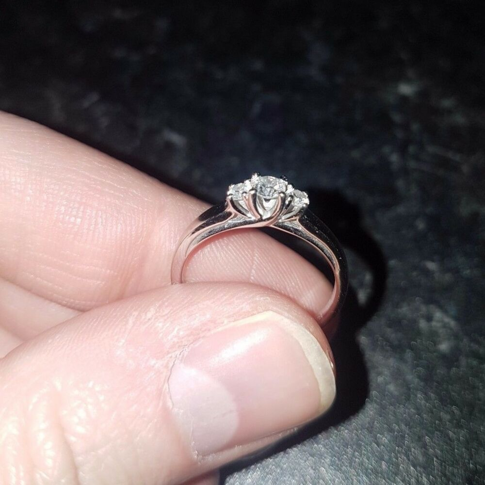 Beaverbrooks 9ct White Gold Three Stone Engagement Ring | eBay
