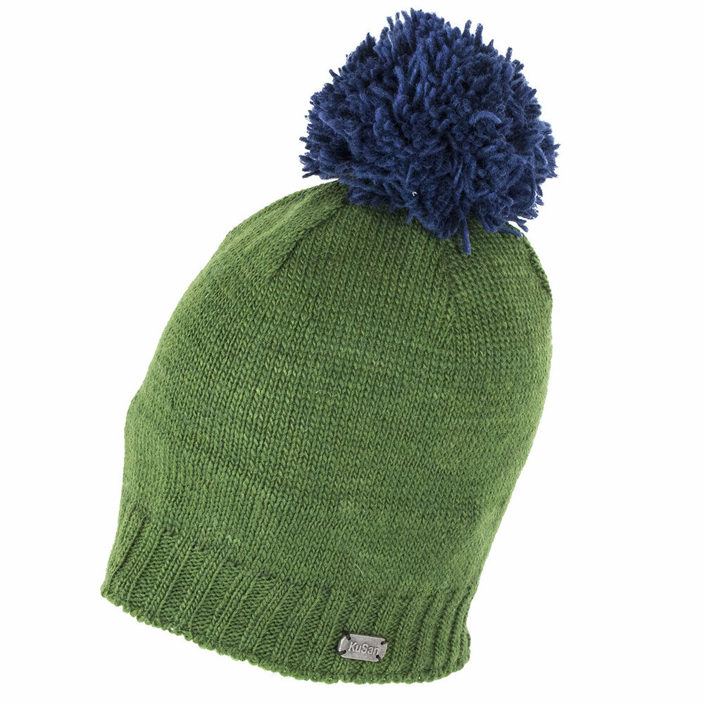 Kusan Accessories Slouch Beanie Hat with Pom - Green 5056032638747 ... a613ff9370a