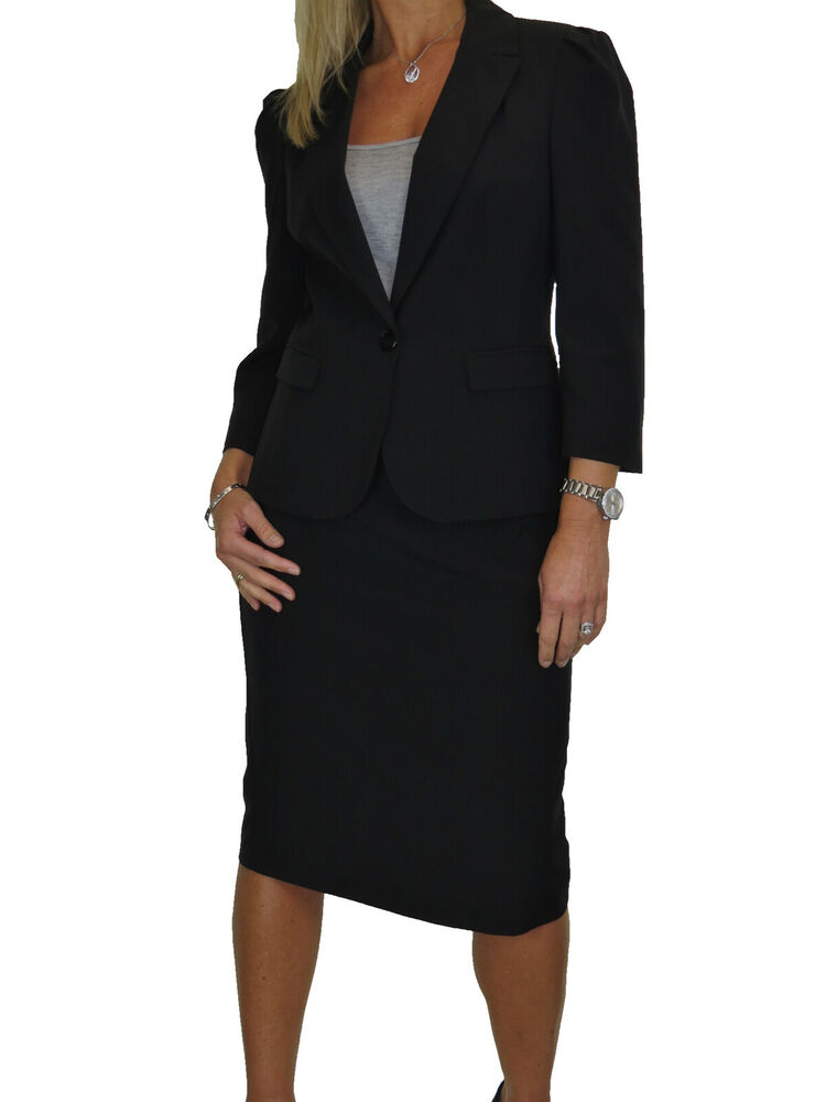 Lined 3//4 Sleeve Washable Business Office Skirt Suit 8-20