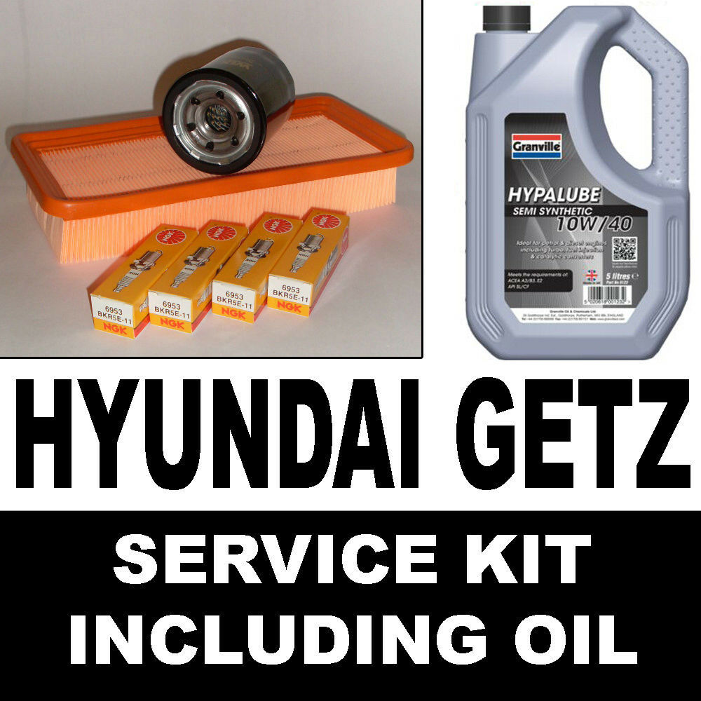 HYUNDAI GETZ 1.1 Oil Air Filters Spark Plugs Service Kit with Oil 2003> |  eBay
