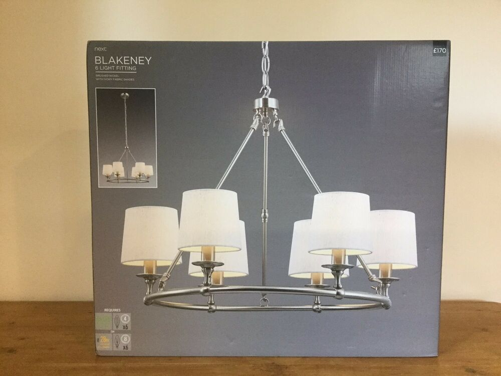 Nickel next ceiling lights chandeliers ebay next blakeney 6 light fitting chandelier rrp 170 mozeypictures Gallery