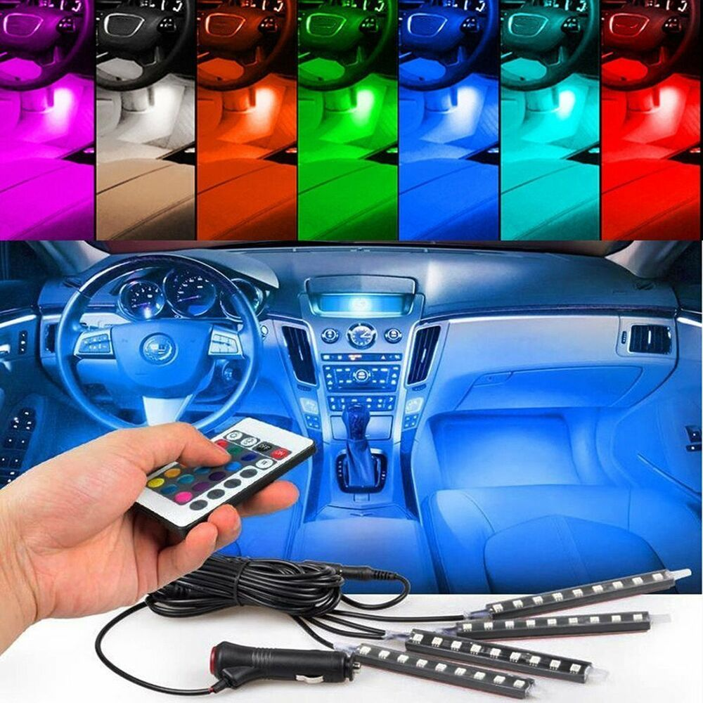 4pcs car interior atmosphere neon lights strip 9led wireless ir remote control ebay. Black Bedroom Furniture Sets. Home Design Ideas