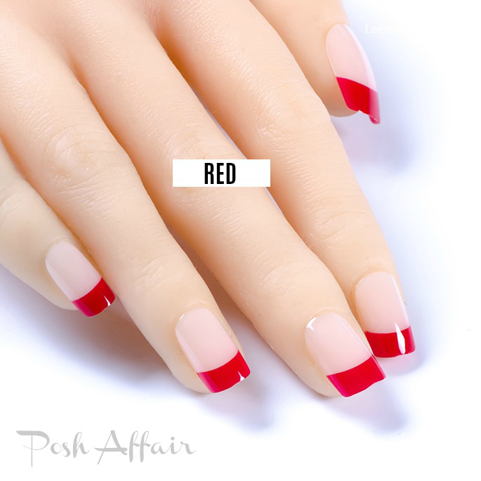 Medium *RED FRENCH MANICURE* Transparent Beige Full Cover