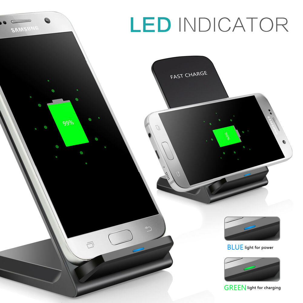 top qi ladestation kabelloses ladeger t wireless charger samsung s7 edge s8 plus ebay. Black Bedroom Furniture Sets. Home Design Ideas