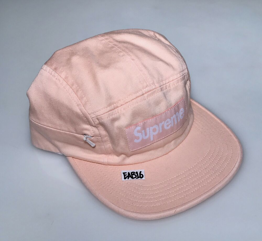 ee905953daa Details about Supreme Side Zip Camp Hat Light Peach Cap Box Logo Bogo FW17  One Size Pink