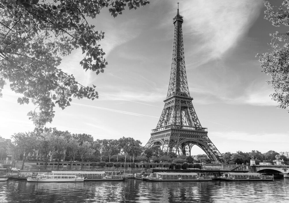 Eiffel tower paris landscape poster wall art print black white card or canvas ebay