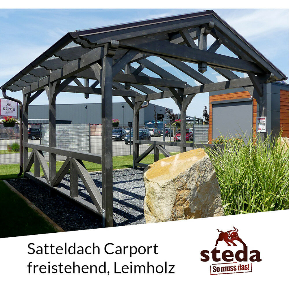 carport satteldach leimholz holz 4x7 m 400x700 cm steda ebay. Black Bedroom Furniture Sets. Home Design Ideas