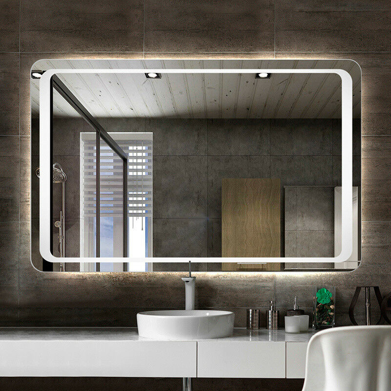 Lighted Bathroom Wall Mirror Large: Modern Large Heated White LED Illuminated Bathroom Mirror