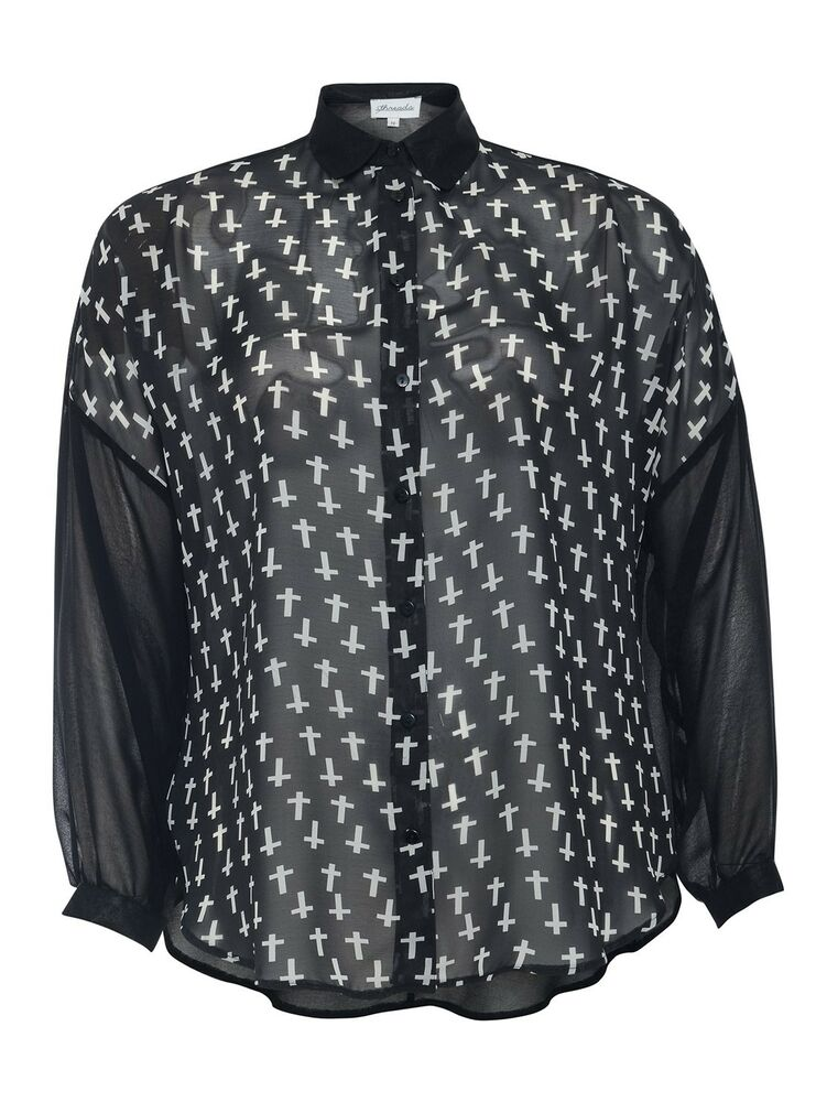e514fb48c05 Details about New Womens Plus Size Gothic Black Kimono Shirt Blouse Top  Cross Print Oversize