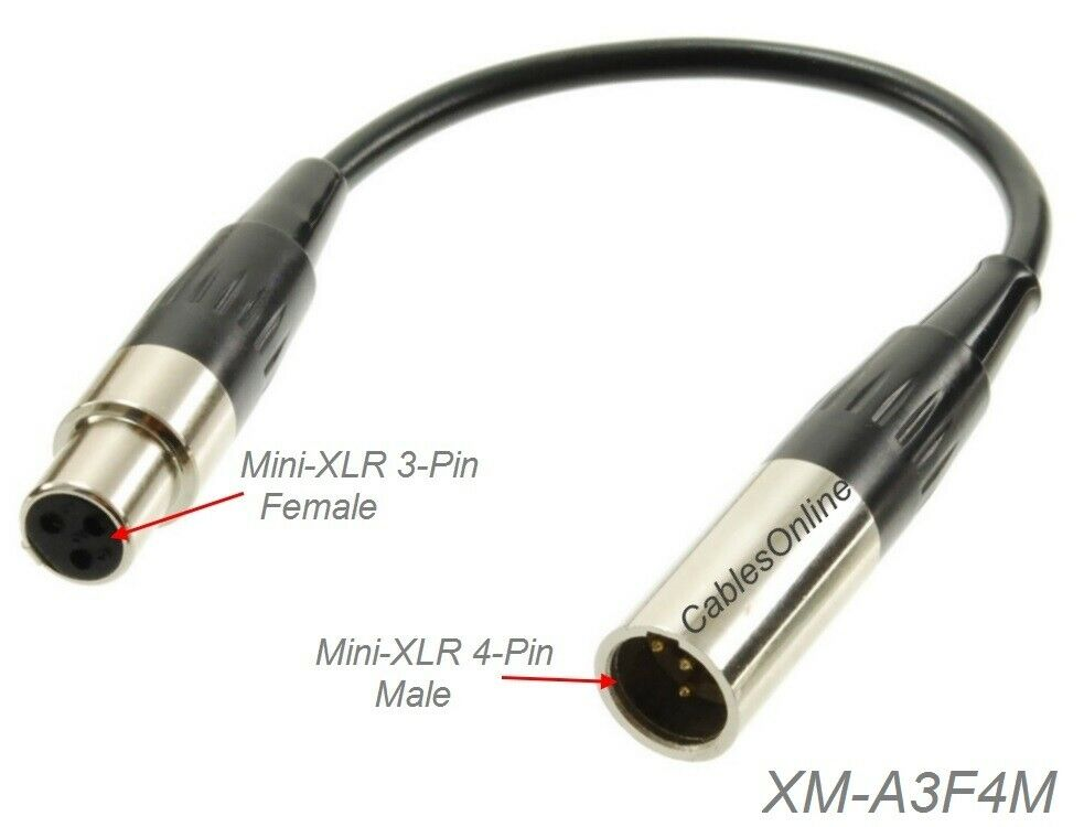 6 Quot Mini Xlr 4pin Male To Mini Xlr 3pin Female Adapter For