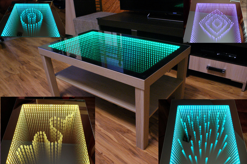 eiche oak table tisch couchtisch spiegel glastisch rgb led 3d tiefeffekt 90x55 ebay. Black Bedroom Furniture Sets. Home Design Ideas