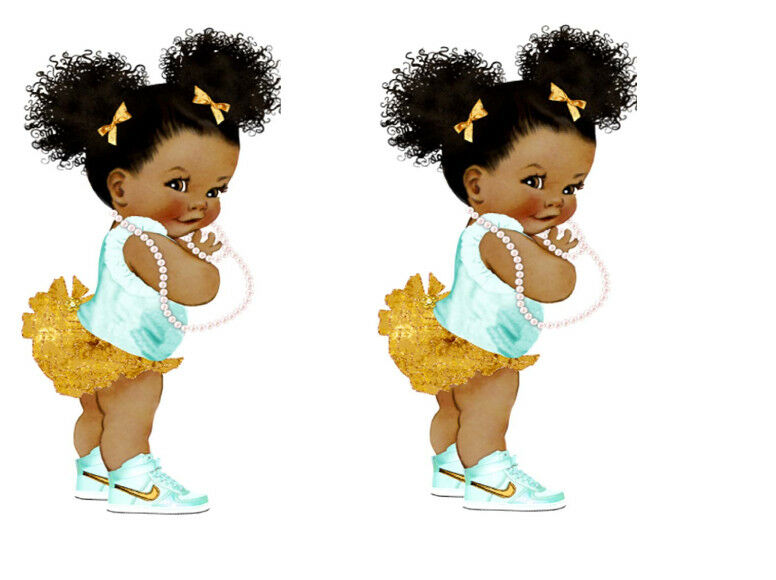 Afro Puff Baby Edible Cake Topper A5 x 2 images WAFER ...
