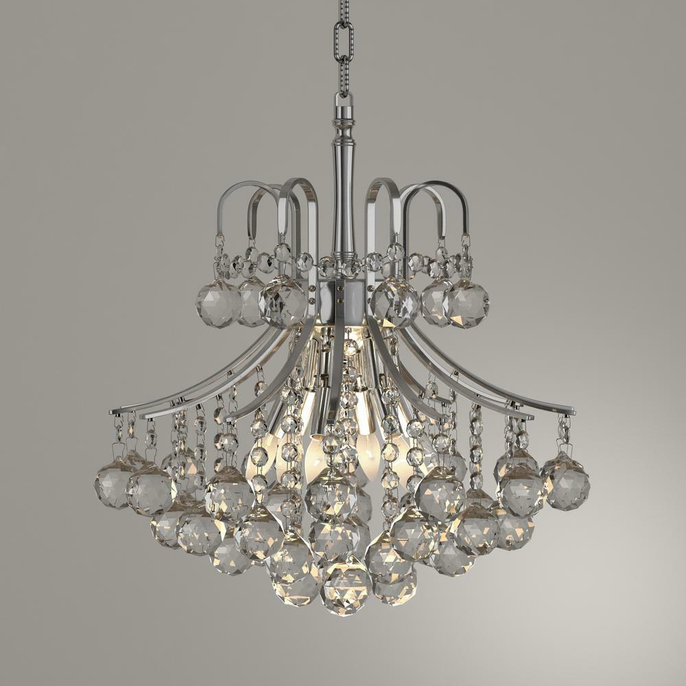Us Brand French Empire 6 Light Chrome Finish Crystal Chandelier 16 W Mini Small