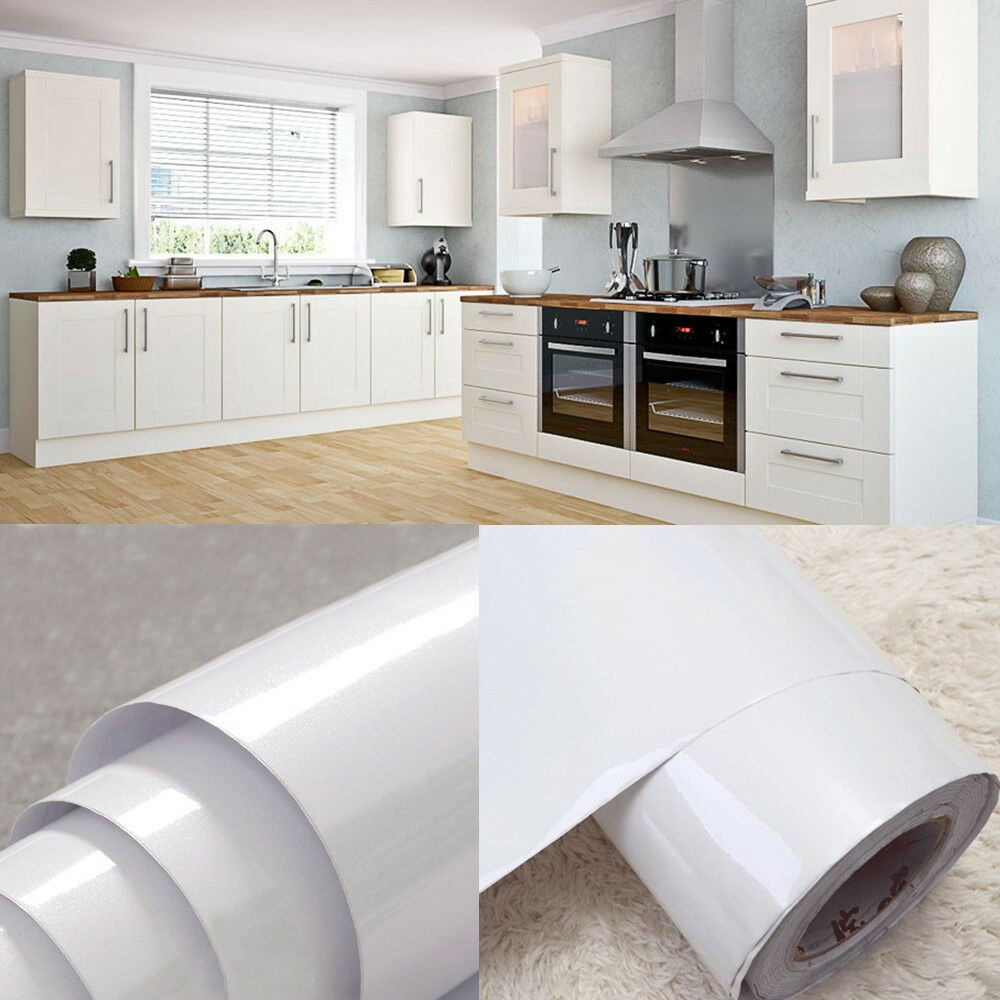 White Vinyl Kitchen Cupboard Door Cover Self Adhesive