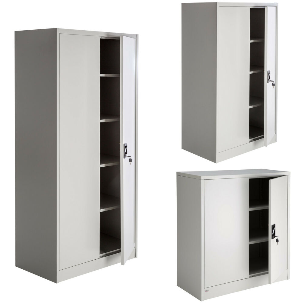 armoire de bureau metallique meuble de rangement armoire fichier 2 portes ebay. Black Bedroom Furniture Sets. Home Design Ideas