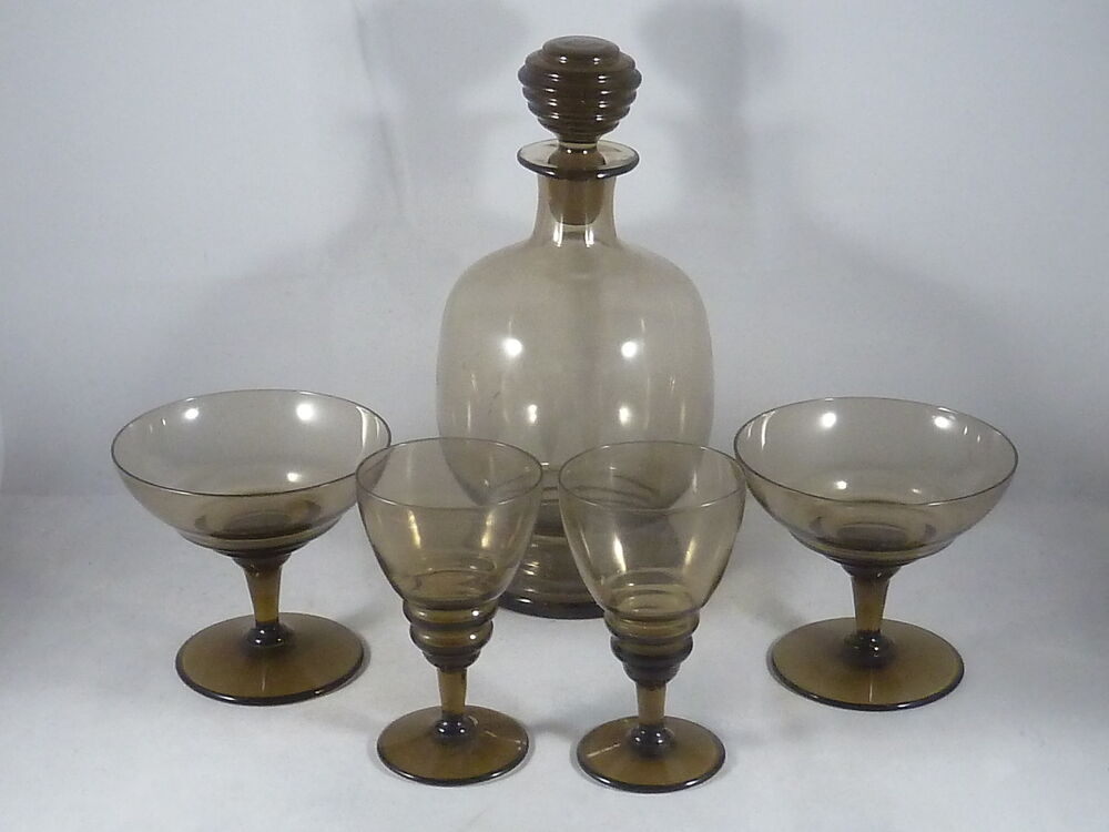 art deco glas karaffe mit 4 gl sern 2 champagner 2 s wein um 1920 ebay. Black Bedroom Furniture Sets. Home Design Ideas