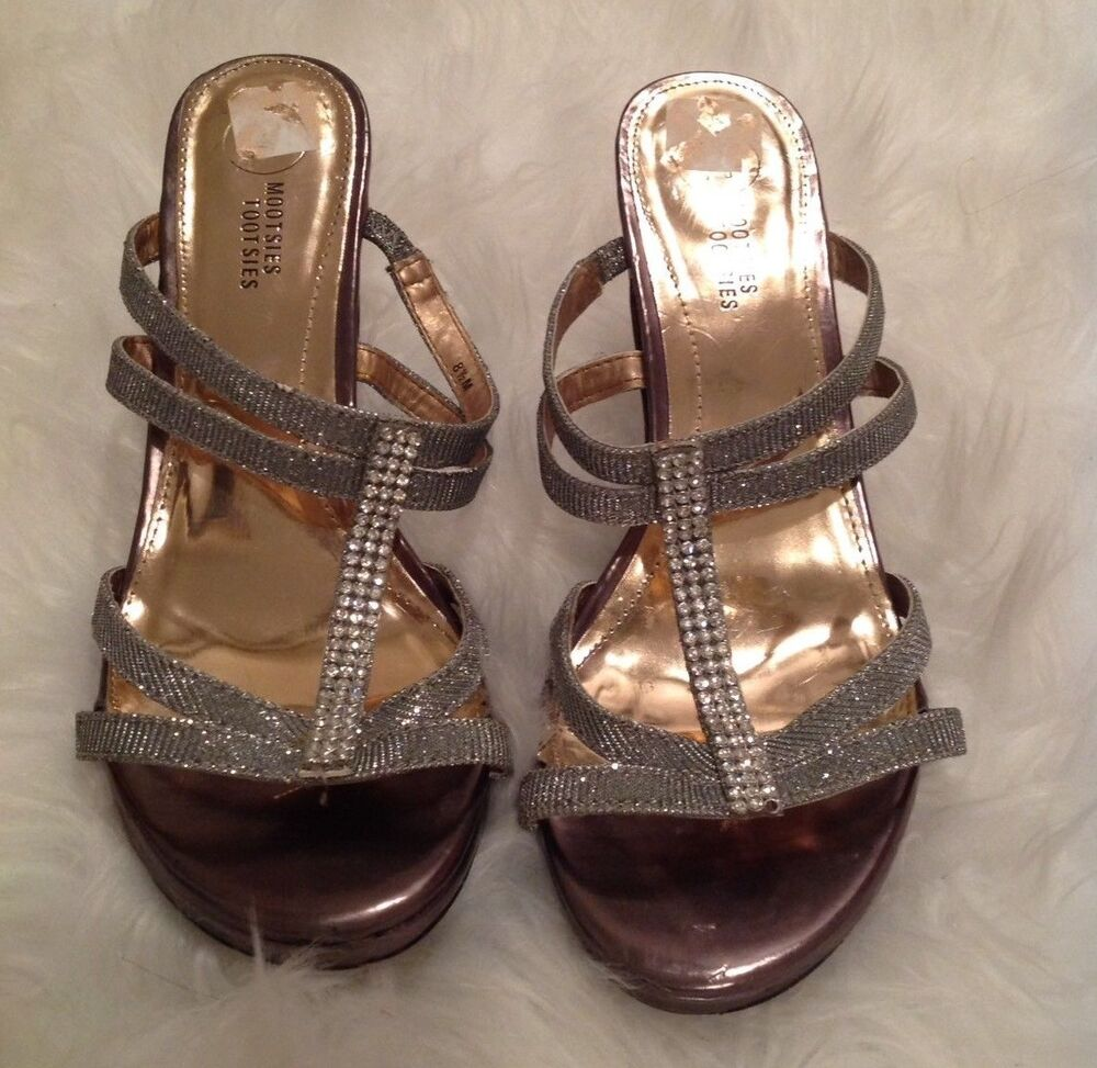 b077763f386 Mootsie Tootsie Size 8.5 M Silver Strappy Sparkly Bling Clear Heels Formal  Prom