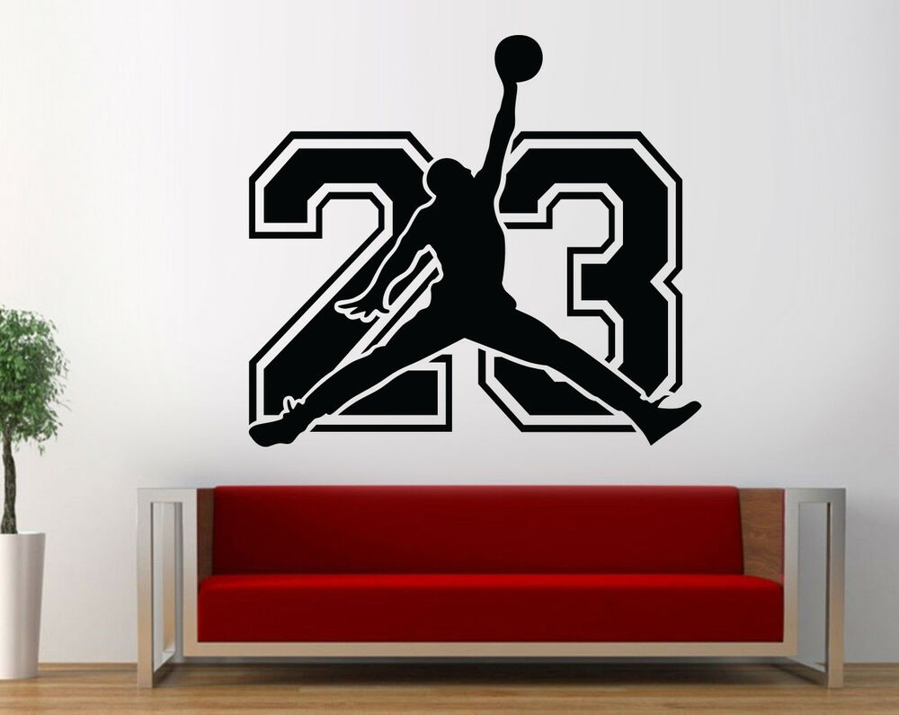 michael jordan 23 wall decal basketball bedroom jordan. Black Bedroom Furniture Sets. Home Design Ideas