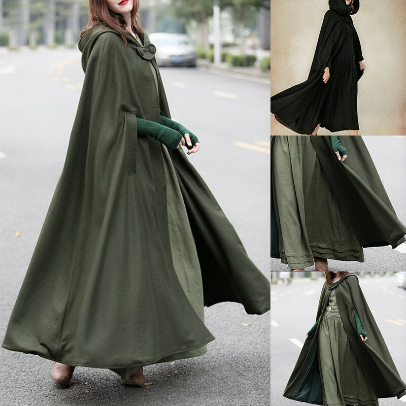 Hooded Cape Clothes Design Fashion: Women Fashion Solid Black Green Vintage Cloak Cape Jacket