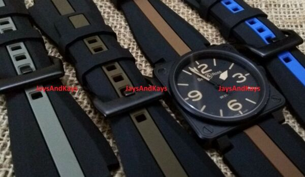 JaysAndKays® 24mm Silicone Rubber Striped Strap Band for Bell & Ross BR-01 BR-03