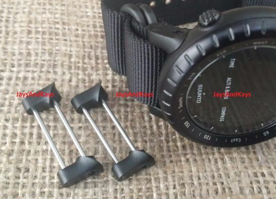 JaysAndKays Fixed Lugs Kit for Suunto Core, Military All Black Strap Adapters