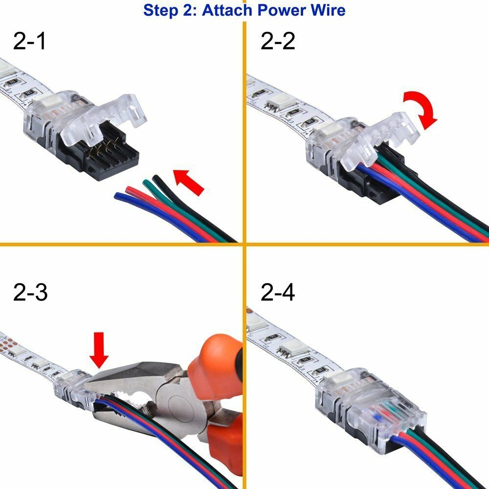 Hippo M 4pin 10mm Wire To Strip Connector For Rgb Ip20 Non